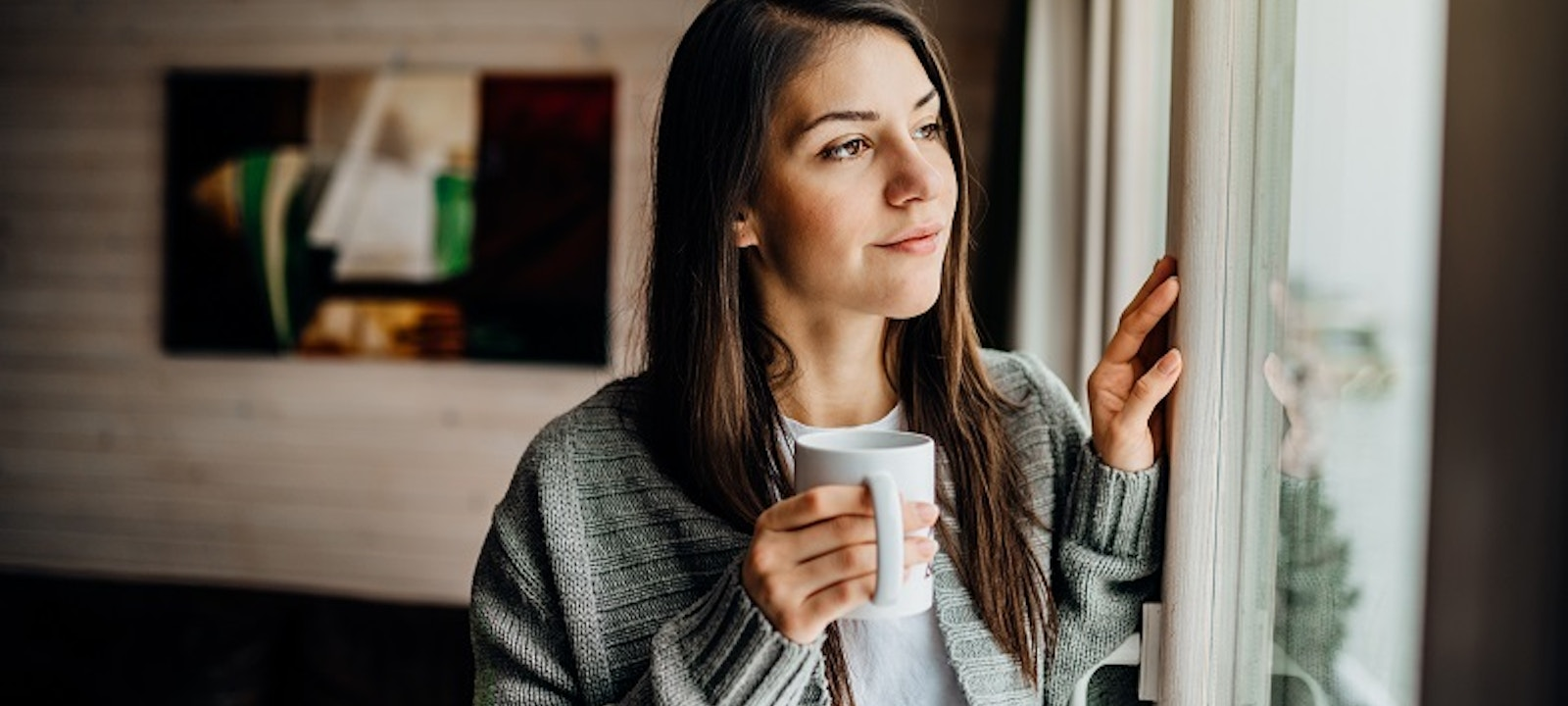 Woman working on positive mental health