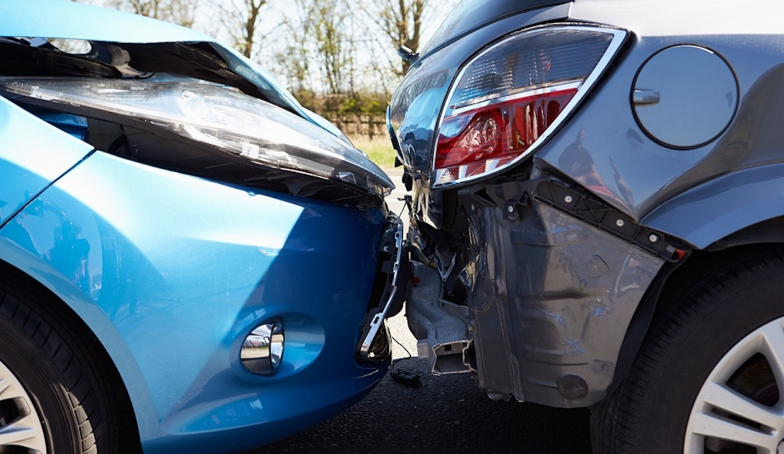 Two cars in a minor vehicle accident