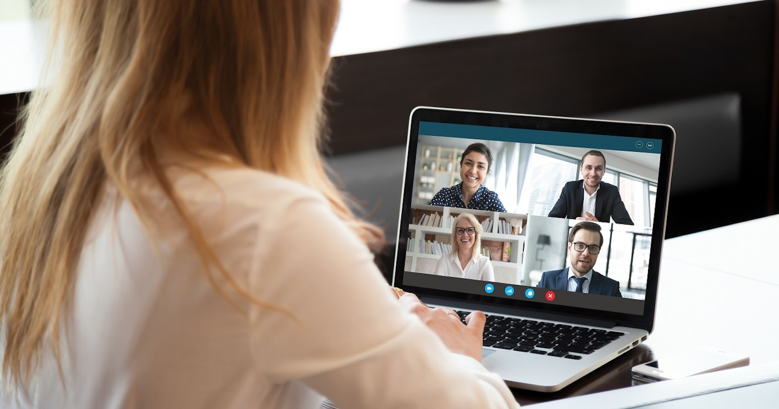 Woman video conferencing