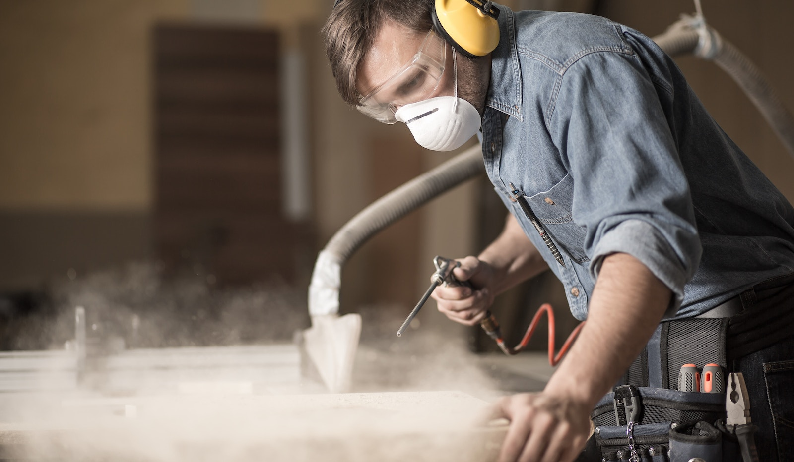 Worker Wearing Mask Cropped